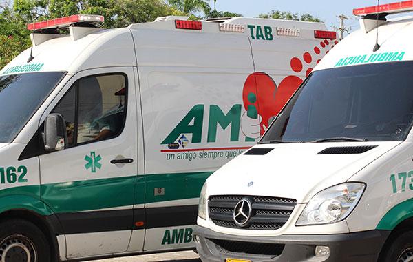 Ambulancias listas para el traslado